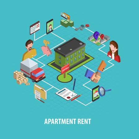 Inmobiliaria alquiler concepto con la búsqueda casa isométrica y los iconos de la elección de ilustración vectorial Foto de archivo - 46501984