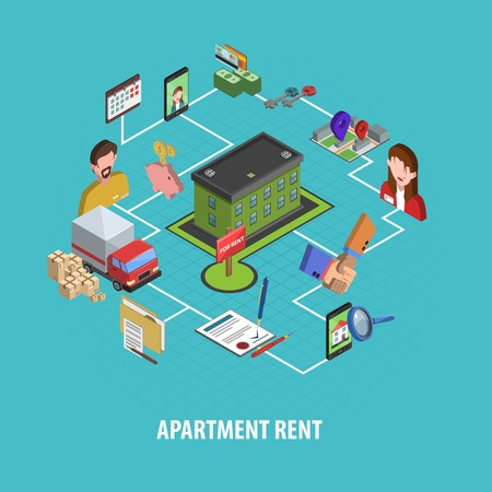 Real estate rent concept with isometric house searching and choosing icons vector illustration