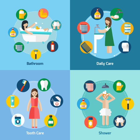 personal hygiene: Personal hygiene 4 flat icons square composition banner with shower and teeth care abstract isolated vector illustration