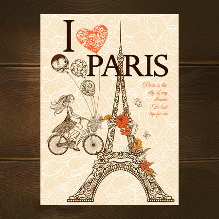 Vintage parijs poster met Eiffeltoren en meisje rijden op een fiets schets vector illustratie