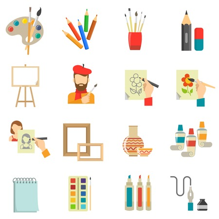 paintbrush spray: Art icons set with artist tools and paint isolated vector illustration