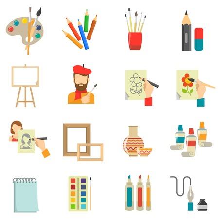 brocha de pintura: iconos conjunto del arte con las herramientas de artista y la ilustración vectorial aislados pintura