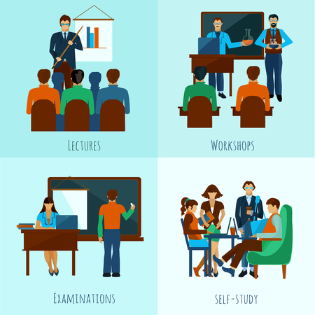 workshop: University people design concept set with lectures flat icons isolated vector illustration Illustration