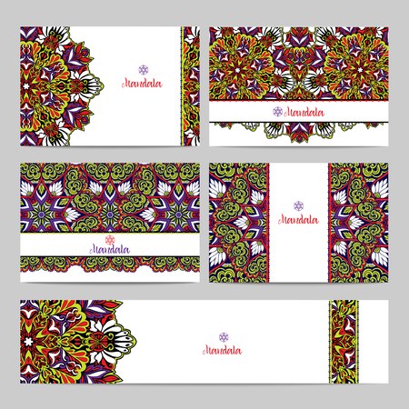 tibet: Decorative horizontal banner set with colored mandalas and fractals isolated vector illustration Illustration