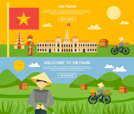 vietnam flag: Vietnam horizontal banner set with flat tourist attractions elements isolated vector illustration Illustration