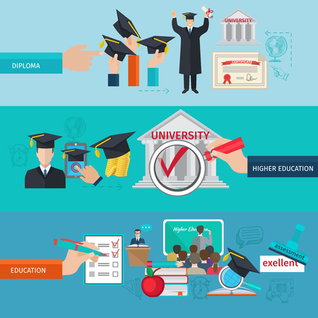 higher quality: Higher education horizontal banner set with college and university flat elements isolated vector illustration Illustration