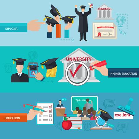 L'enseignement supérieur bannière horizontale sertie de collèges et d'universités éléments plats isolé illustration vectorielle
