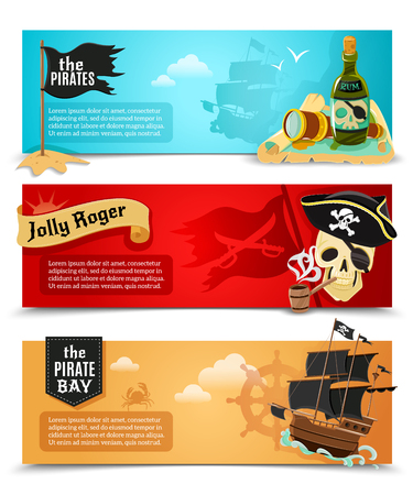 Pirates flat banners set with ship jolly roger and  triangle black hat symbols abstract isolated vector illustration Illustration