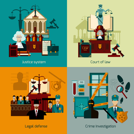 court judge: Law design concept set with legal defence flat icons isolated vector illustration