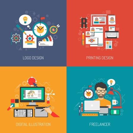 graficas: Concepto de diseñador establecido con el logotipo de diseño gráfico digital, ilustración vectorial