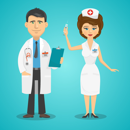 Doctor and nurse full length silhouettes flat avatars isolated vector illustration Illustration