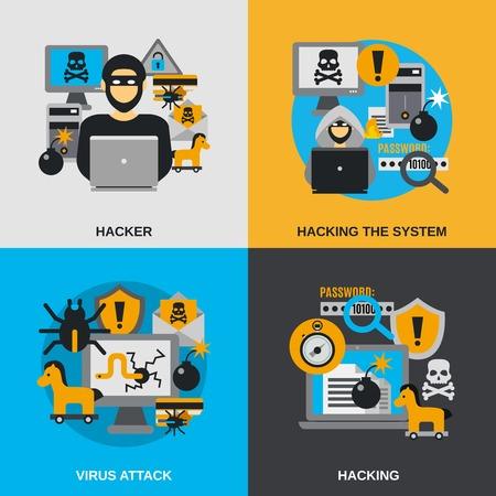 virus informatico: Hacker concepto de dise�o conjunto con iconos planos de ataque del virus aislado ilustraci�n vectorial