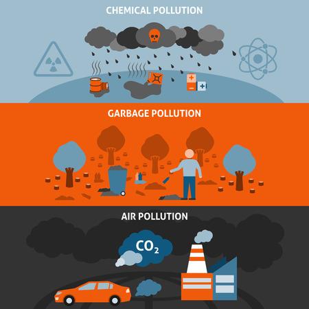 Le insegne orizzontali di inquinamento hanno messo con l'illustrazione di vettore isolata piano di simboli chimici dell'immondizia e dell'inquinamento atmosferico Vettoriali