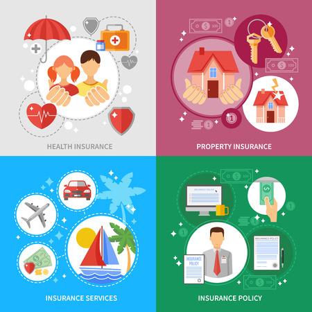vida social: Iconos del concepto de seguro establecen con los servicios de propiedad de la salud y de seguros símbolos plana aislado ilustración vectorial Vectores