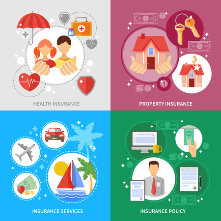 Insurance concept icons set with health property and insurance services symbols flat isolated vector illustration Illustration