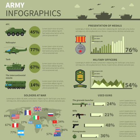 medals: Army military forces units personnel weapons and technical equipment informatics statistic report presentation banner abstract vector illustration