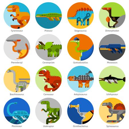 prehistory: Dinosaur and prehistoric animals icons set flat isolated vector illustration Illustration