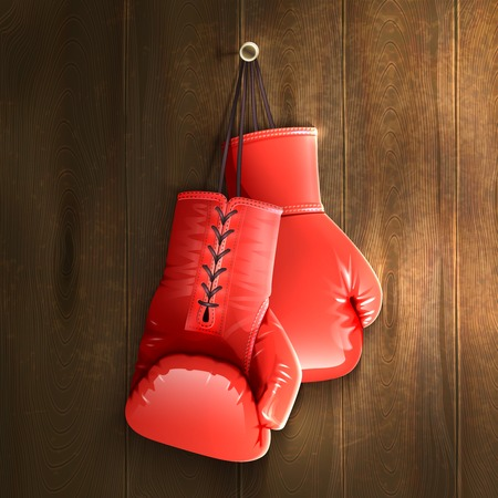Red realistic boxing gloves hanging on wooden wall vector illustration