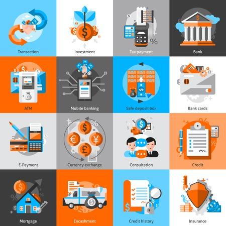 impuestos: Banca iconos establecen con aislados crédito hipotecario atm inversión ilustración vectorial