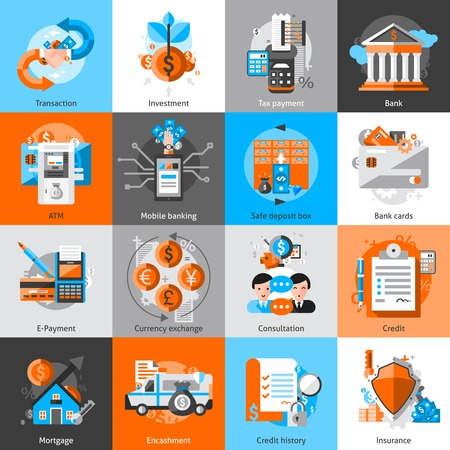 mortgage: Banking icons set with investment atm credit mortgage isolated vector illustration