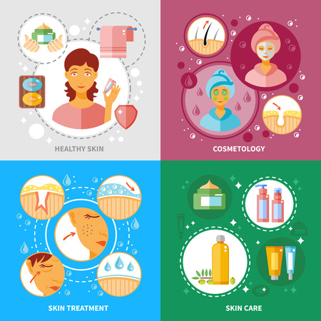limpieza de cutis: Iconos del concepto de tratamiento de la piel establecen con la piel y cosmetología símbolos sanos ilustración del vector aislado plana