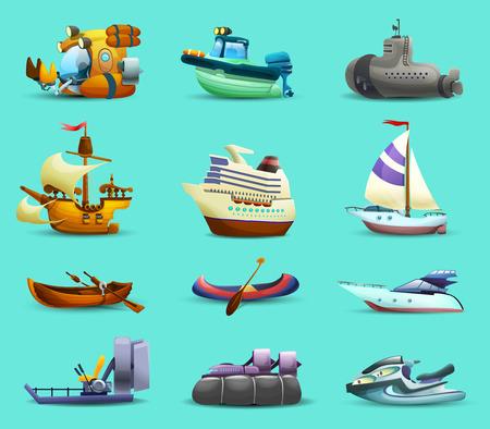 submarino: Barcos y embarcaciones iconos realistas fijaron con submarino lanchas motoras y yates en el fondo aislado azul ilustración vectorial