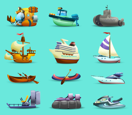 Ships and boats realistic icons set with motorboat submarine and yacht on blue background isolated vector illustration Illustration