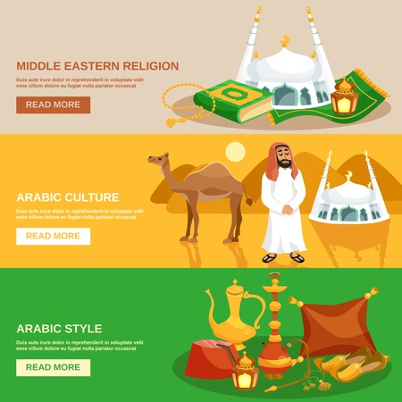 middle eastern: Arabic culture horizontal banner set with eastern religion symbols isolated vector illustration