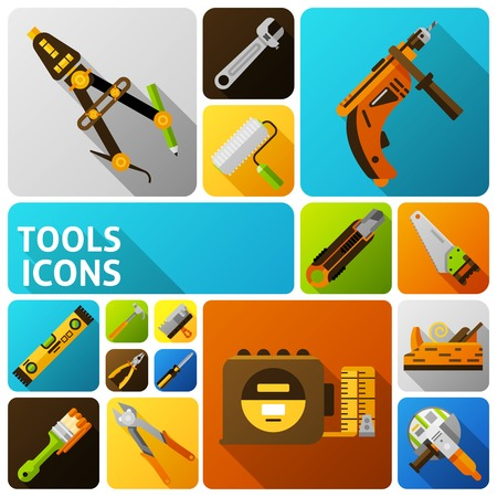 tool: DIY tools flat icons set with handyman instruments isolated vector illustration