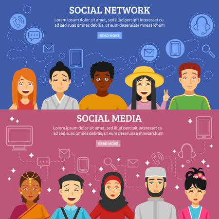 japanese people: Social network and media horizontal banners set with different nationalities flat isolated vector illustration