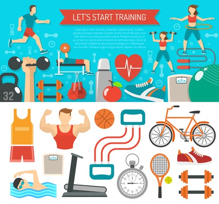 water shoes: Fitness banner horizontal set with sport equipments flat isolated vector illustration
