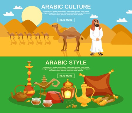 cartoon camel: Arabic culture horizontal banner set with food drinks and camels on desert background isolated vector illustration