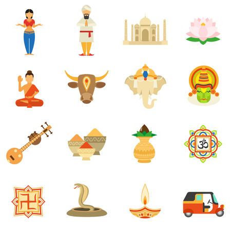 famous people: India icons flat set with cow taj mahal building tea and spices isolated vector illustration