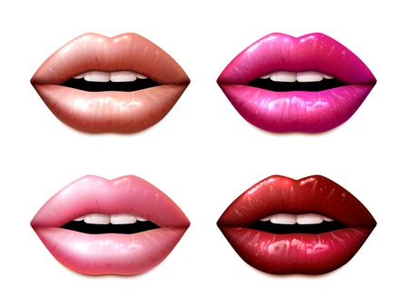 red lip: Female lips colored in different lipstic colors isolated vector illustration