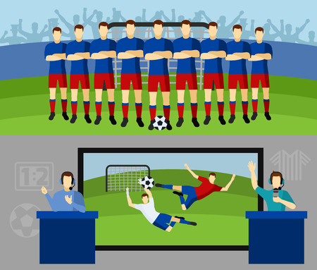 commentator: Men national soccer team and tv transmission with commentators 2 flat banners set abstract isolated vector illustration
