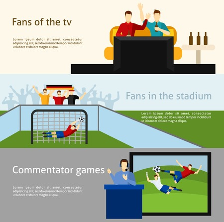 commentator: Soccer   tv spectators and fans at the stadium flat banners set abstract isolated vector illustration