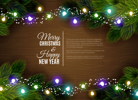 postcard background: Christmas greetings with fair light decorations and fir branches border against dar wooden background abstract vector illustration