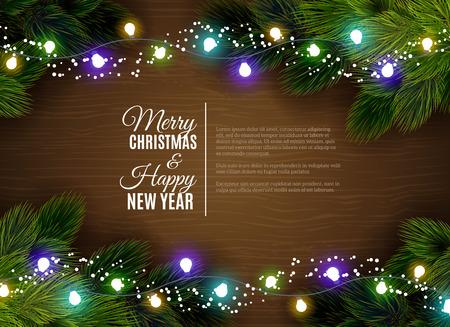 Weihnachtsgrüße mit fairen Lichtschmuck und Tannenzweigen Grenze gegen dar hölzernen Hintergrund abstrakte Vektor-Illustration Standard-Bild - 46502590