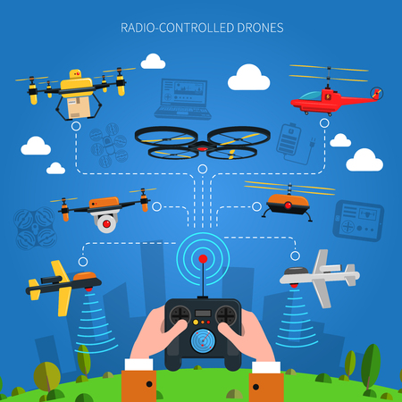 Radio-controlled drones concept with city grass and console in hands flat vector illustration Vectores
