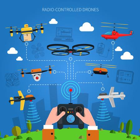 Radiografisch bestuurbare drones concept met de stad gras en console in handen plat vector illustratie Stock Illustratie