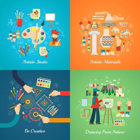the pallet: Artista concepto de dise�o conjunto con herramientas y materiales de arte iconos planos ilustraci�n vectorial