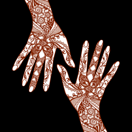 mehandi: Female hands covered with traditional indian mehendi henna tattoo ornaments on black background vector illustration