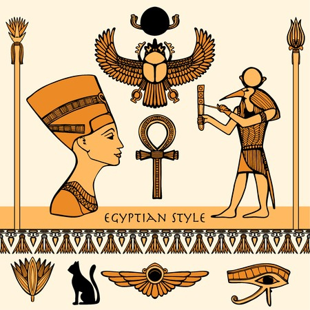 hieroglyphs: Egypt colored symbols set with Nefertiti profile isolated vector illustration