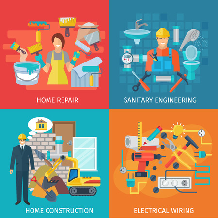 diy tool: Home repair design concept set with sanitary engineering flat icons isolated vector illustration