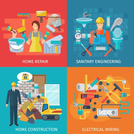 redes electricas: Reparación casera concepto de diseño conjunto con iconos planos de ingeniería sanitaria ilustración vectorial aislado