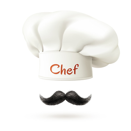 Chef realistic concept with white hat and mustache isolated vector illustration Vectores