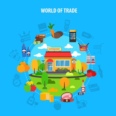 trades: Supermarket concept with trade market flat icons set vector illustration