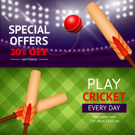 red competition: Cricket horizontal banner set with sport bat and ball isolated vector illustration