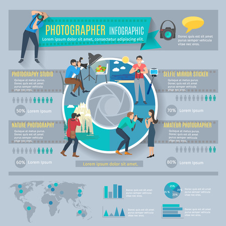 photographer: Photographer infographics set with people with photo cameras and charts vector illustration
