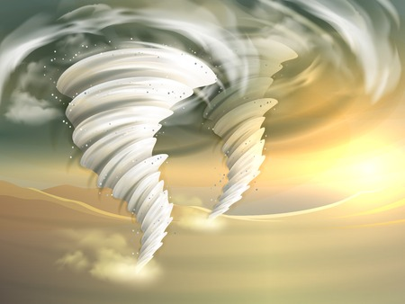 funnel: Two realistic tornado swirls with sun and clouds on background vector illustration Illustration